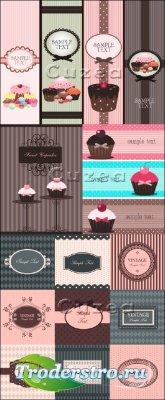 Винтажные баннеры с рамками и пирожными - vector stock