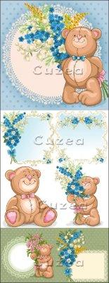 Медвежонок ко дню Валентина с букетом цветов в векторе