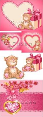 Винтажные сердца с цветами и драгоценными камнями к празднику Валентина в в ...