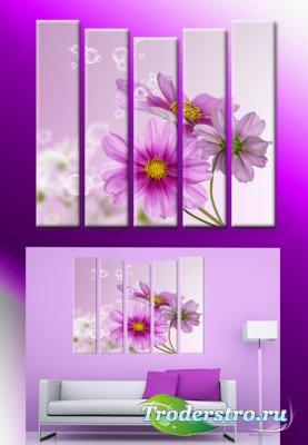 Полиптихи в psd формате - Цветы, картина с цветами, лиловые цветы