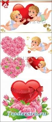 Векторный клипарт ангелочков и цветочных сердец с  красным бантом