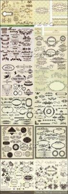 Мега сборник векторных винтажных орнаментов, рамок и узоров к различным пра ...