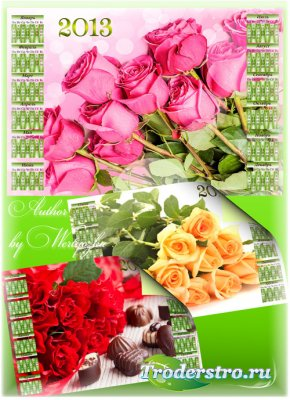 PSD Календари 2013 - Красные розы, розовые розы, чайные розы
