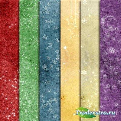 Зимние винтажные фоны шести цветов