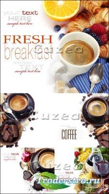 Натюрморт - чашки кофе и бокалы вина - Stock photo