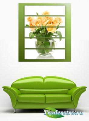 Полиптих в psd формате - Чайные розы, букет роз, цветы