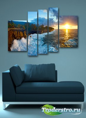 Полиптих в psd формате - Чарующий восход солнца на море