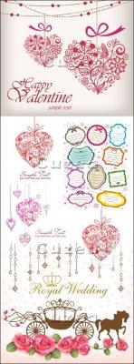 Цветочные сердца, стикеры, розы и свадебная карета для оформления открыток  ...