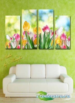 Полиптих в psd формате - Тюльпаны, роскошное цветение тюльпанов, весна, цве ...