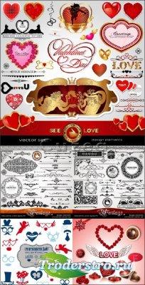 Надписи, сердечки, купидоны и сердца ко дню Валентина в векторе