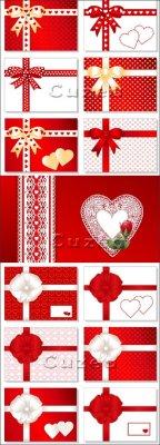 Пригласительные карточки в векторе с лентами и сердечками ко дню Валентина