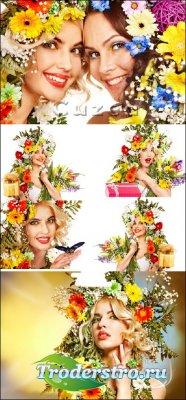 Весенние девушки с букетами цветов, часть 2 / Spring beautiful girls - Stoc ...