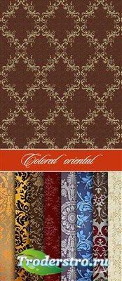 Набор цветных восточных текстур с узорами