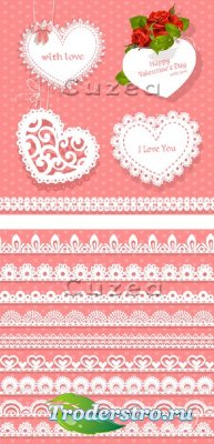 Hearts and lacy borders by Valentine's Day in a vector