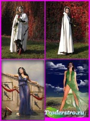 Набор красивых женских шаблонов для фотомонтажа