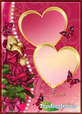 Романтичная рамка для фотошопа - Прекрасные розы для любимой