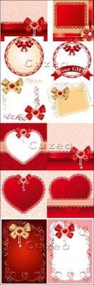 Винтажные фоны к праздникам с лентами и сердцами в векторе|  Vintage backgr ...