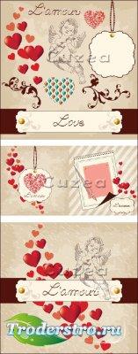 Винтажные ангелочки ко дню Валентина в векторе| Vintage Invitation angels b ...