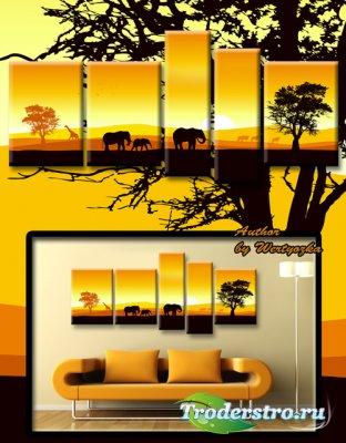 Полиптих в psd формате - Красивая  картина со слонами и жирафами