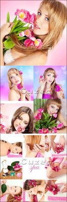 Девушка с  цветами и спа клипарт/ Beautiful spring girls and Spa - Stock ph ...