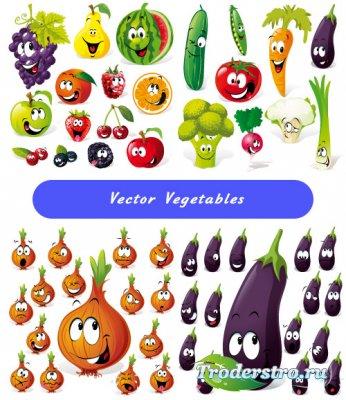 Клипарт в векторе - Эмоции овощей