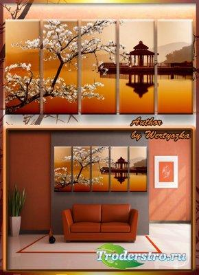Полиптих в psd формате - Сакура, цветущая вишня, китайский домик на воде