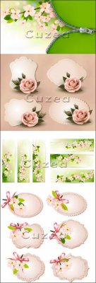 Весенние баннеры с нежными цветами в векторе | Spring banners with gentle f ...