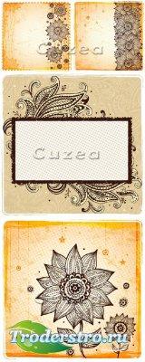 Винтажные фоны с цветочным орнаментом в векторе/ Vintage backgrounds with a ...