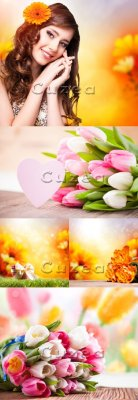 Девушка и весенние цветы/ The girl and spring flowers - Stock photo