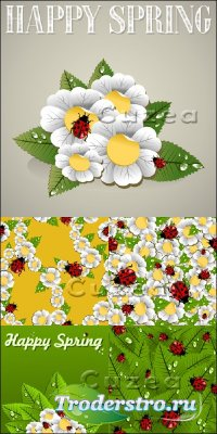 Весенние ромашки в векторе| Spring camomiles in a vector