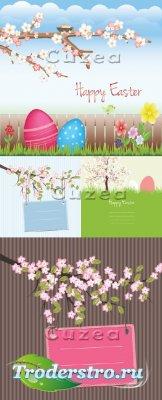 Нежные весенние фоны к пасхе в векторе| Gentle spring backgrounds by Easter ...