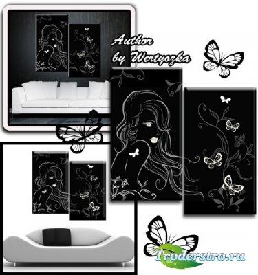 Диптих в psd формате - Девушка с бабочками на черном фоне