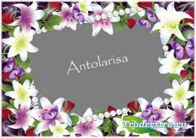 Женская рамка для фото – Цветы и бабочки