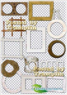 Клипарт на прозрачном фоне – Рамки-вырезы из природного материала