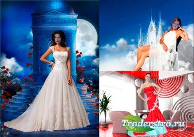 Шаблоны для фотошопа - Девушки в красивых платьях