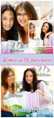 Women with purchases / Счастливые девушки с покупками