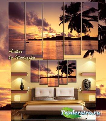 Полиптих в psd формате - Закат на море, остров, пальмы, пейзаж