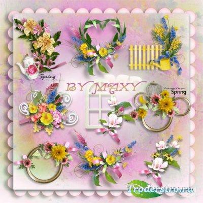 Цветочный композиции PSD - Красочные вырезы и элементы