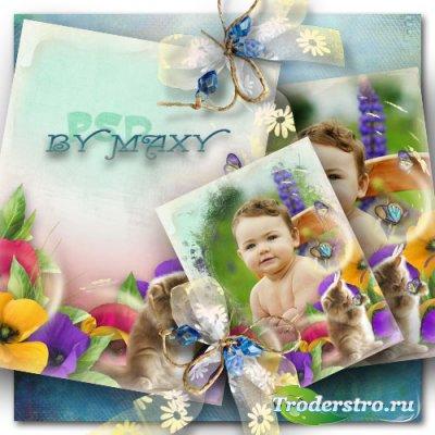 Детская рамка фотошоп - Кот и красочные цветы