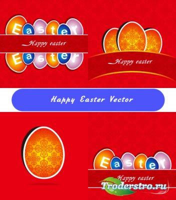 Пасхальные красные открытки с узором (вектор)
