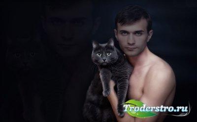 Мужской шаблон PSD - Британский котик на руках