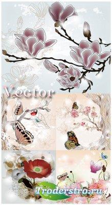 Цветы и бабочки - векторный клипарт