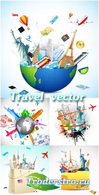 Путешествие, отдых в разных странах - векторный клипарт