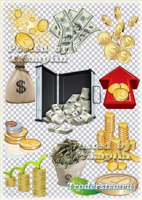 Клипарт – Золотые монетки , деньги и денежные концепции
