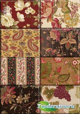 Коллекция тканевых текстур с цветами и узорами