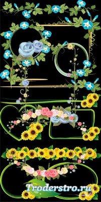 Клипарт PSD - рамки вырезы с цветами подсолнуха на прозрачном фоне