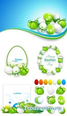 Белое, зеленое пасхальное яйцо (Вектор)
