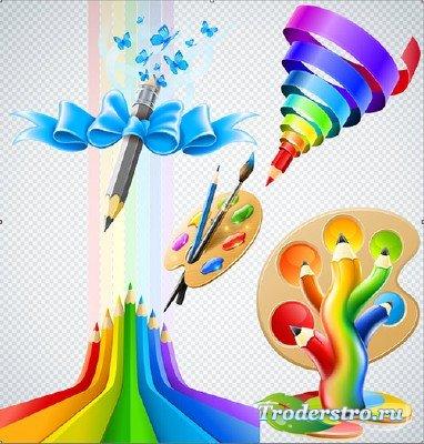 Клипарт PSD - цветные карандаши краски с кисточкой на прозрачном фоне