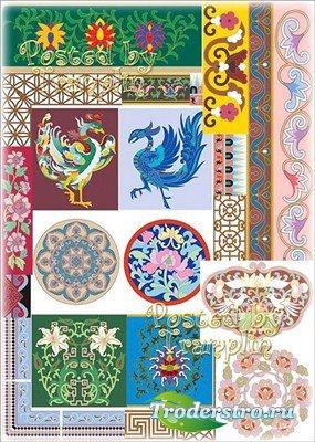Набор уголков, паттернов и бордюров в китайском стиле