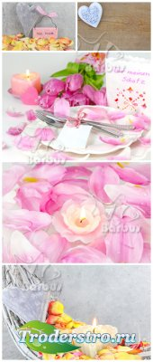 Romantic still life  / Романтичный натюрморт - свеча и лепестки роз